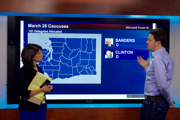 Natalie Brand and Lukasz Pawlowski reviewing the Power BI solution used for KING 5 election coverage on a Surface Hub in KING5's studios.